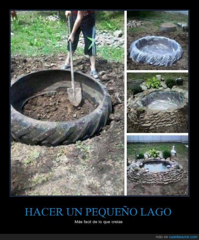 agua,construir,jardín,lago,piedras,rueda