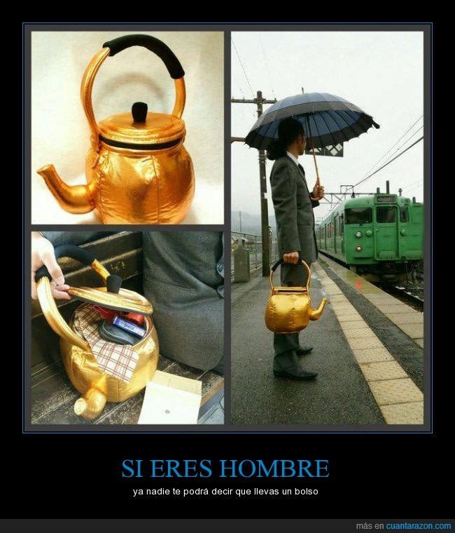 bolso,dorado,estacion,hombre,lluvia,paraguas,tetera