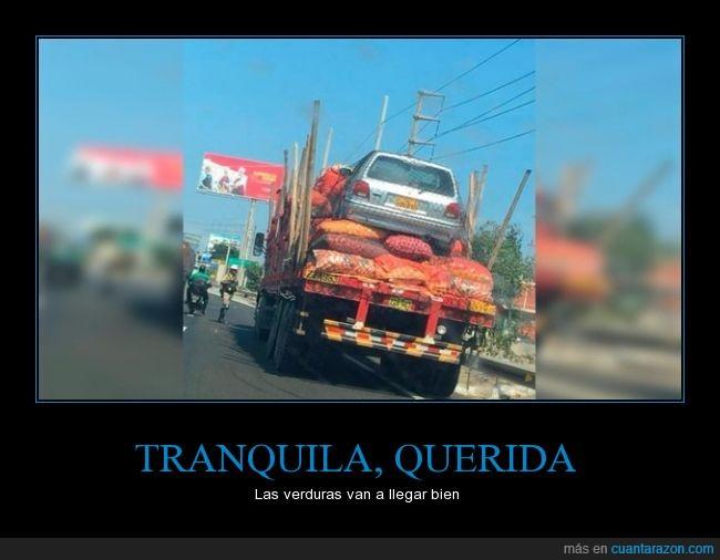 camión,coche,encima,peligro,querida,subir,verdura