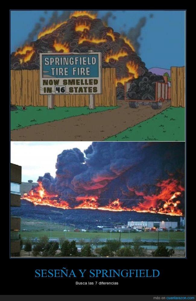 fuego,incendio,neumaticos,Seseña,Simpsons,Springfield,Vertedero