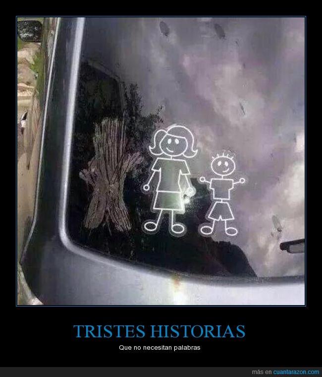 coche,desaparecer,divorcio,hijo,historia,madre,morir,padre,pegatina,tragedia,triste