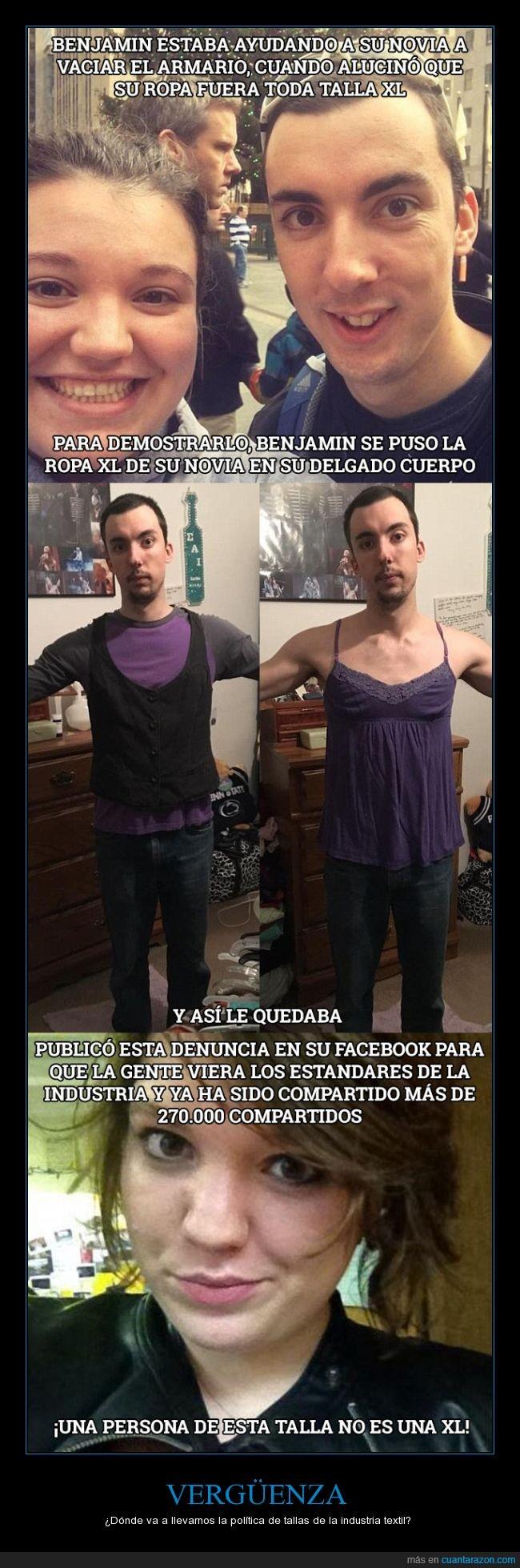 benjamin,gorda?,industria textil,novia,ropa,talla XL,vergüenza,XL