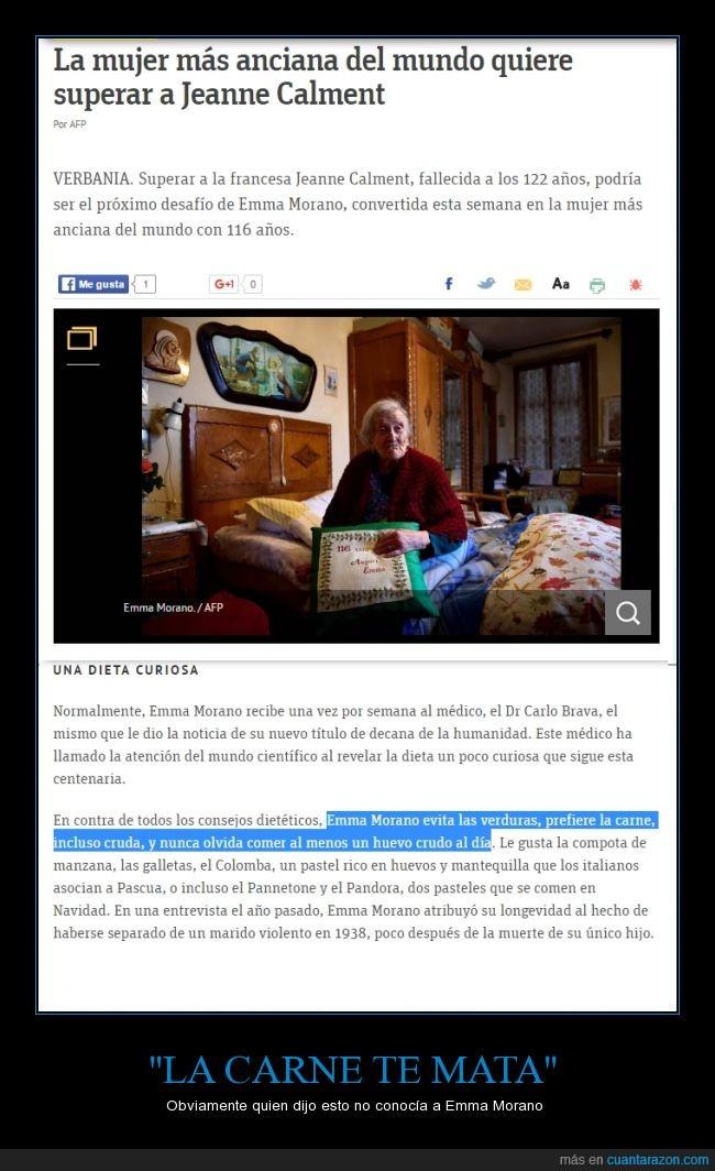 116 años,carne,dieta,Emma Morano,huevos,la mujer más vieja del mundo,vegetales,verduras