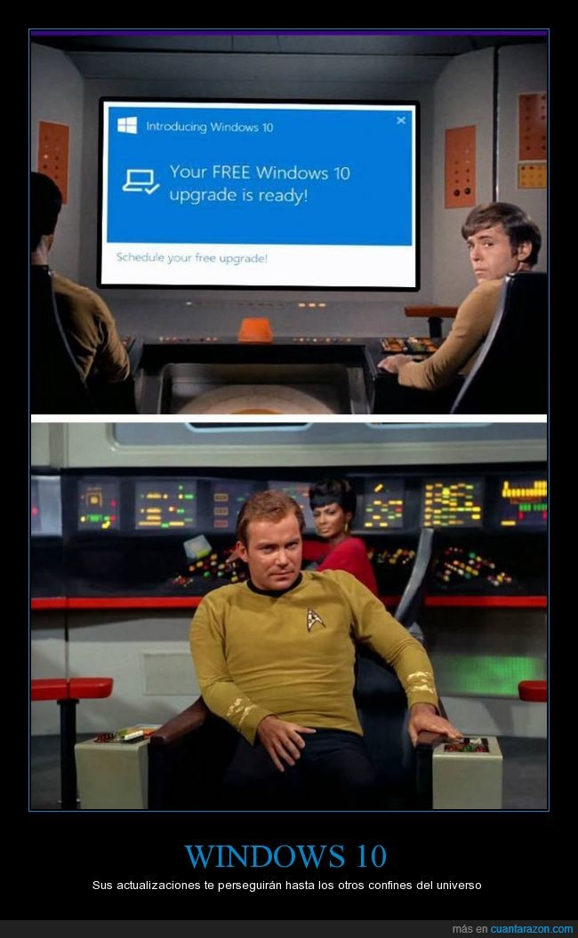 actualizacion,Capitán Kirk,Star Trek,Windows 10