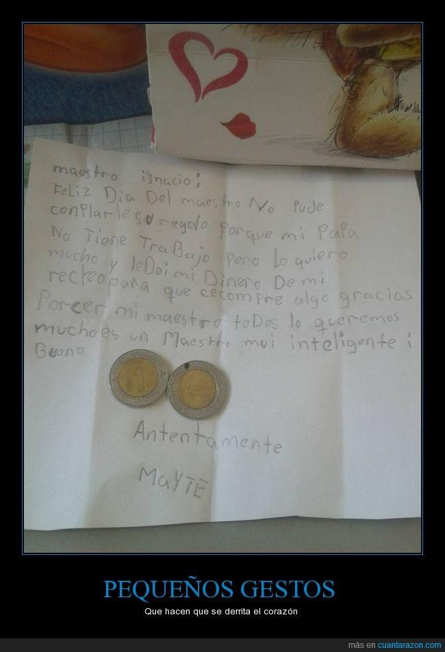 dos pesos son casi 10 céntimos,méxico,niña,profesor,regalo