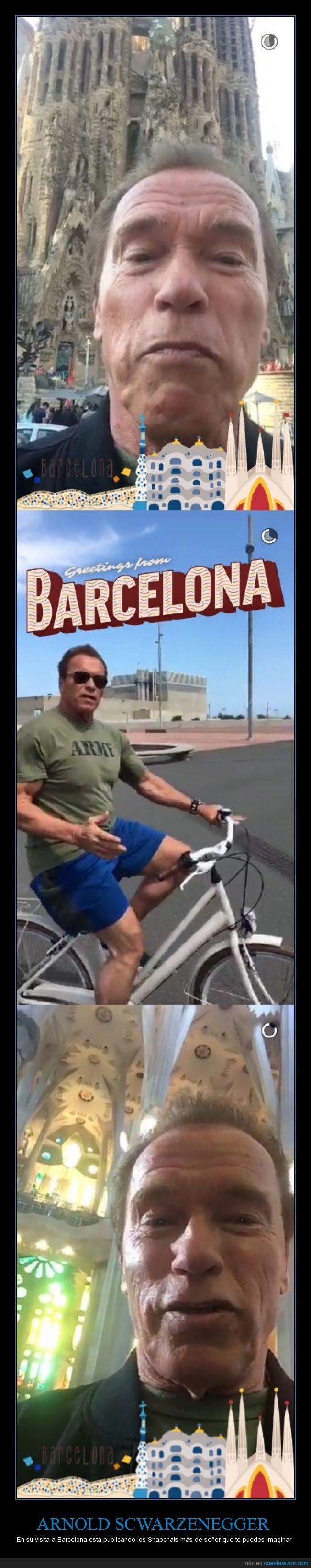 Arnold Schwarzenegger,barcelona,sagrada familia,snapchat