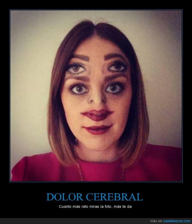 boca,cerebral,cerebro,chica,doble,dolor,frente,maquillaje,ojos