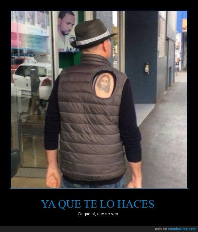 agujero,chaleco,dios,jesucristo,jesus,recortar,tattoo,tatuaje