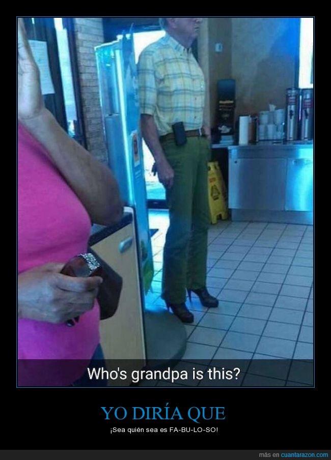 abuelo,anciano,fabuloso,hombre,mujer,señor,tacones,zapatos