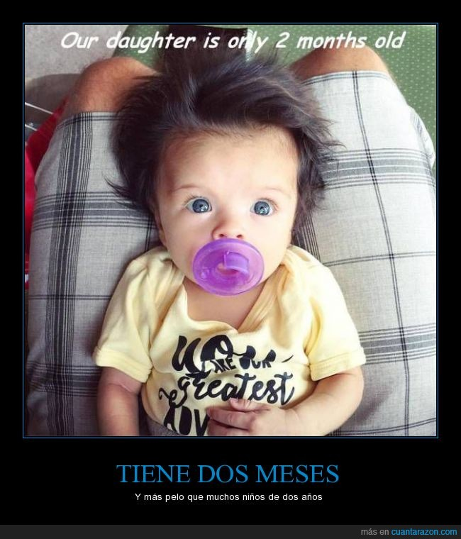 bebe,dos,hija,meses,niña,pelazo,pelo