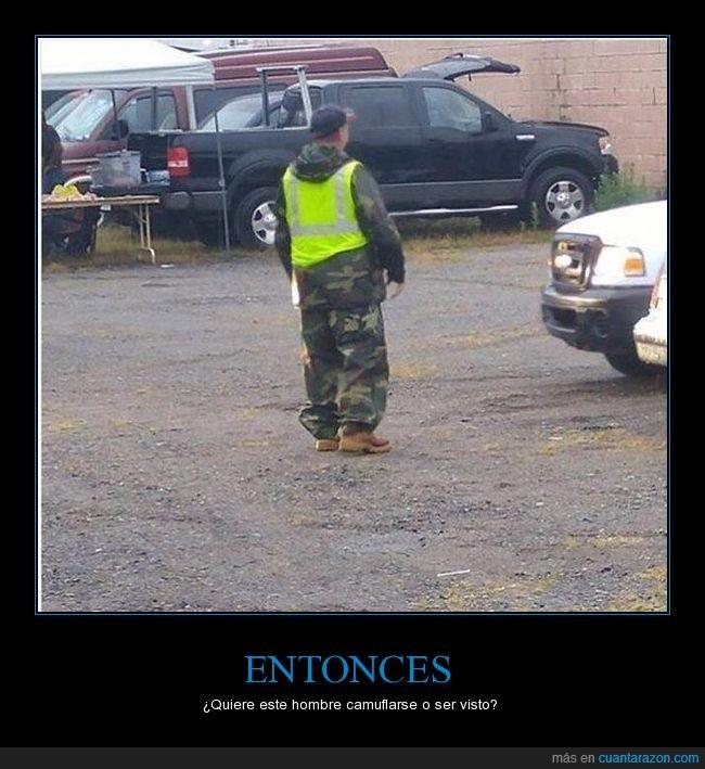 chaleco,chaleco reflector,estupidez,Estupidez humana,hombre,traje militar