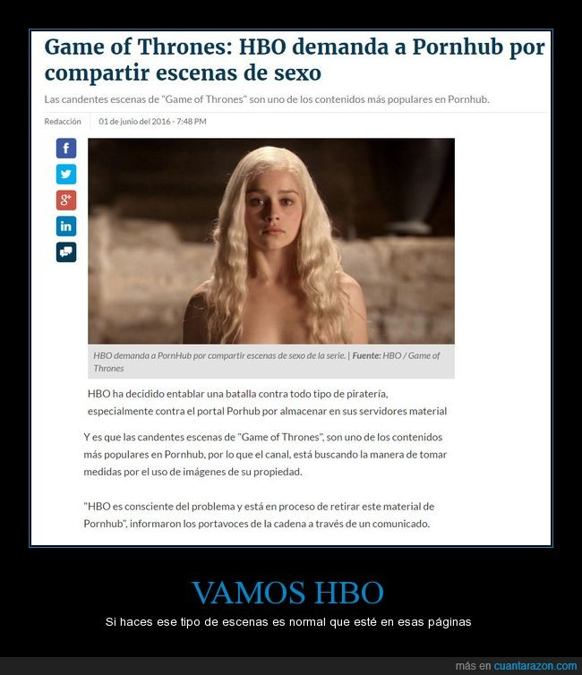 candente,demanda,Game of Thrones,HBO,P*rnHub,piratería,video