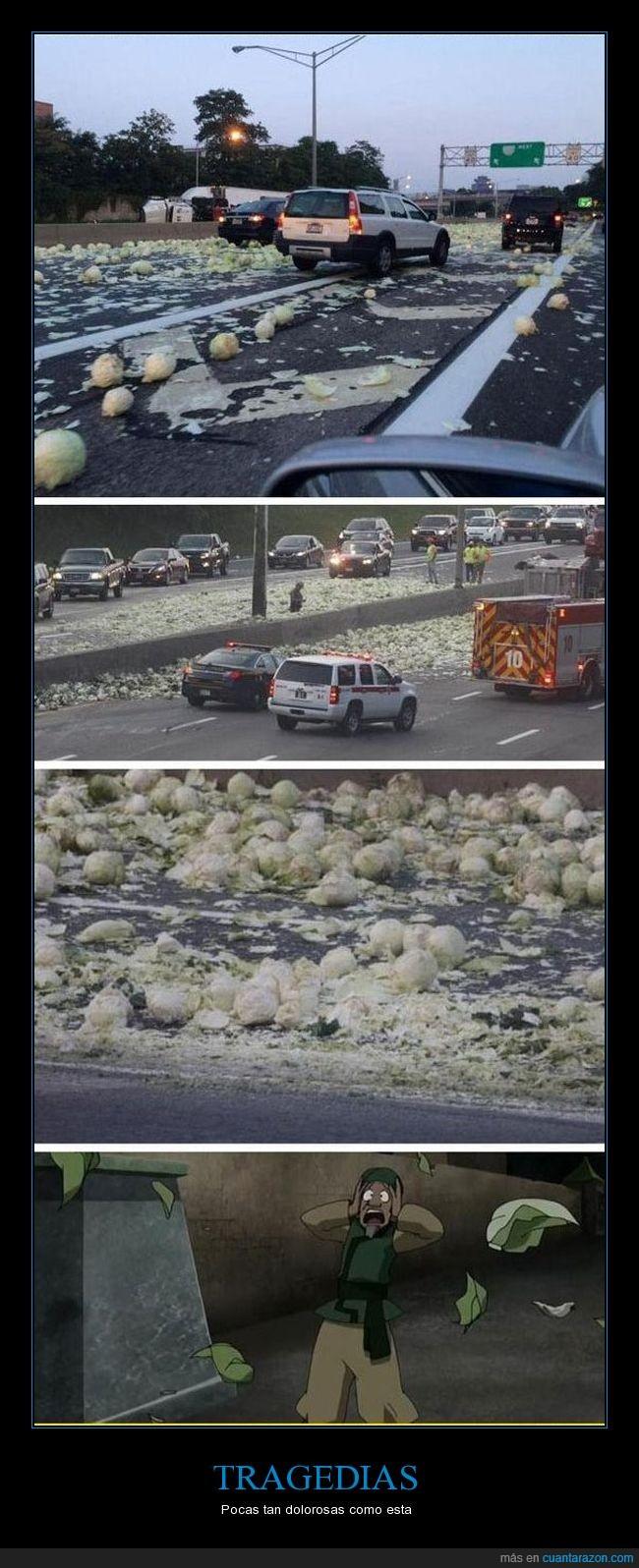 caer,camion,choce,repollo,tragedia