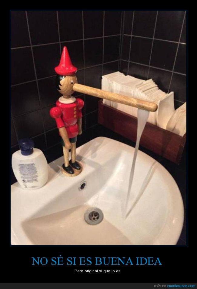 agua,grifo,lavabo,Pinocho