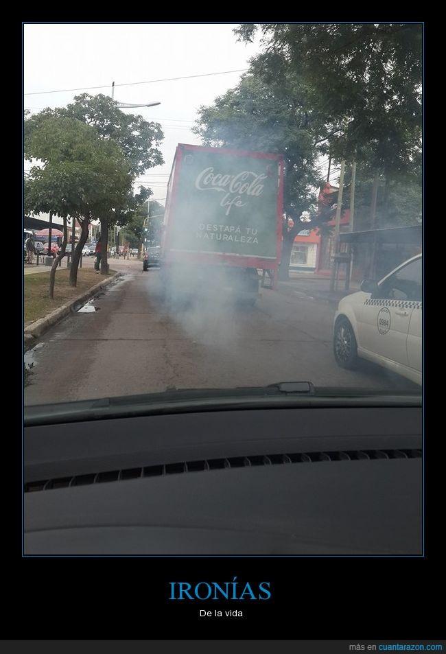 camión,cocacola,contaminación,furgoneta,humo