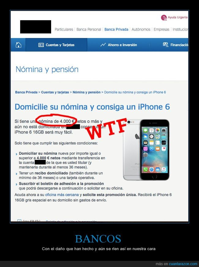 4000€,banco,dinero,iphone 6,nómina