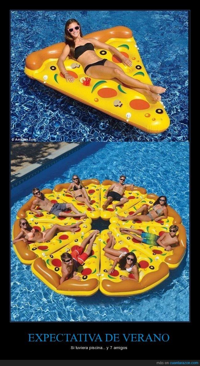 amigos,colchoneta,piscina,pizza