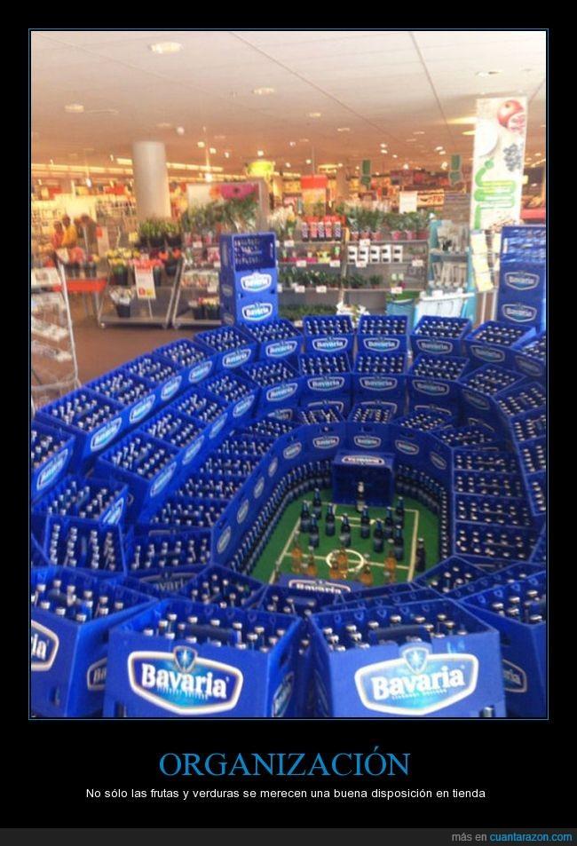 campo,cervezas,fútbol,orden,ordenado,supermercado