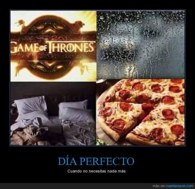 cama,juego de tronos,lluvia,manta,pizza,series,tv