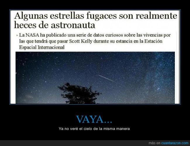 astronauta,eei,estrella fugaz,heces,NASA