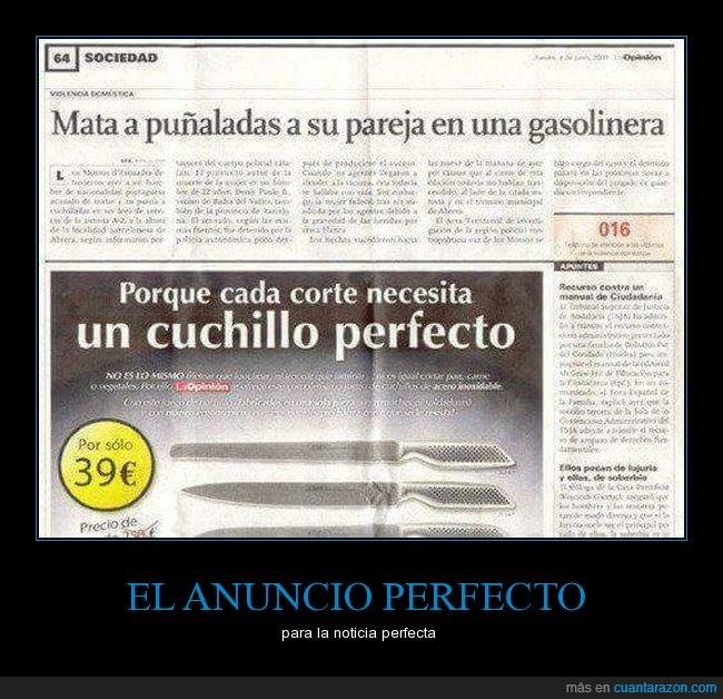 anuncio,cuchillos,noticia,periódico