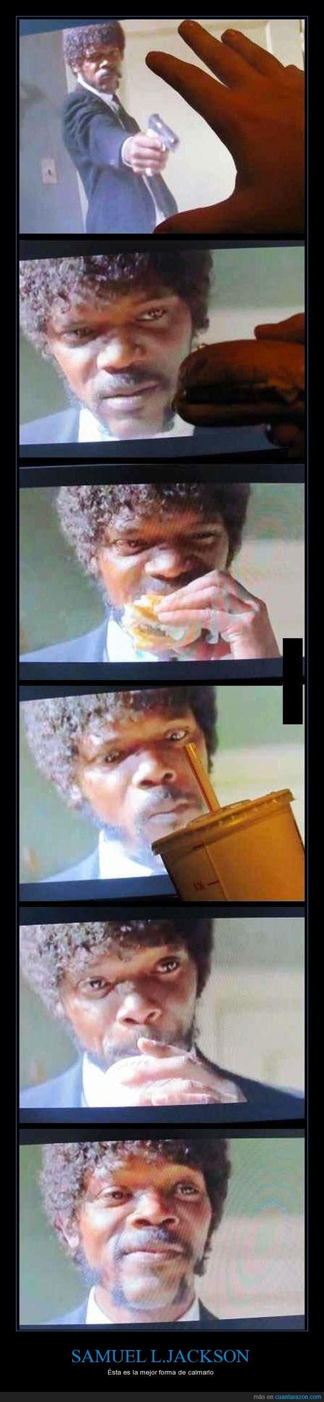 calmar,comida,hamburguesas,parar,patatas,Samuel L.Jackson