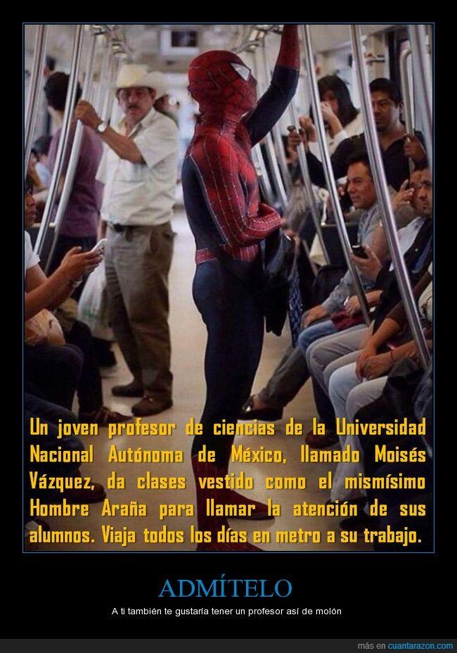 ciencia,cómics,hombre araña,marvel,metro,méxico,profesor,spider man,unam