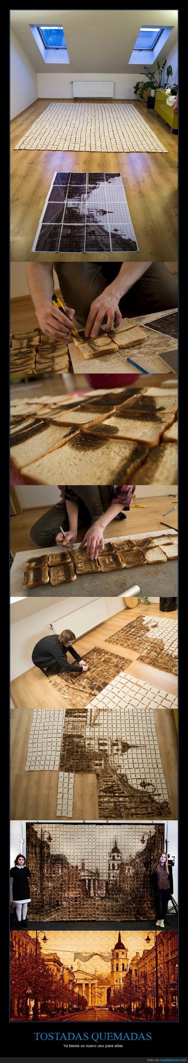 arte,cuadro,montaje,tostadas