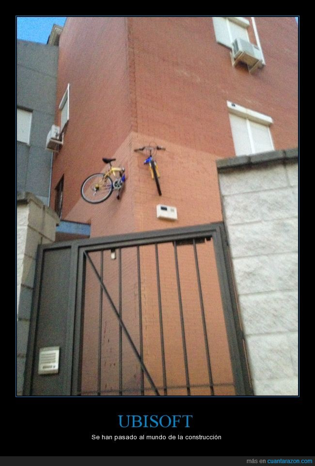 bicicleta,bug,edificio,pared,tochos,ubisoft