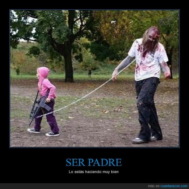 disfraz,niña,padre,the walking dead,zombi