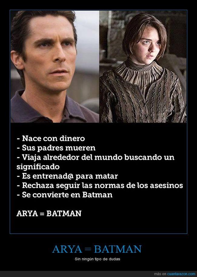 arya,batman,cine,juego de tronos,series