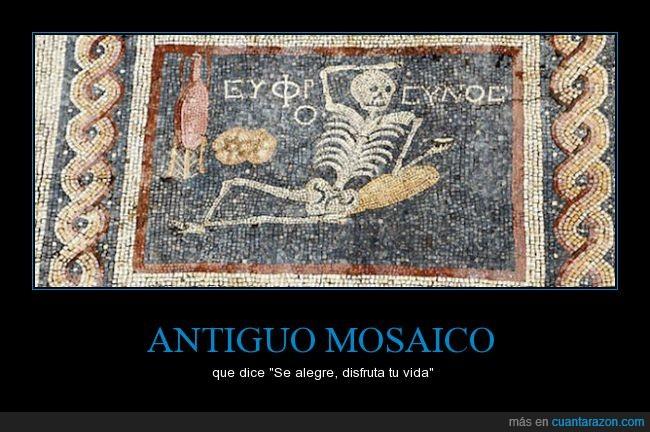 alegre,antiguo,disfrutar,esqueleto,mosaico,vida