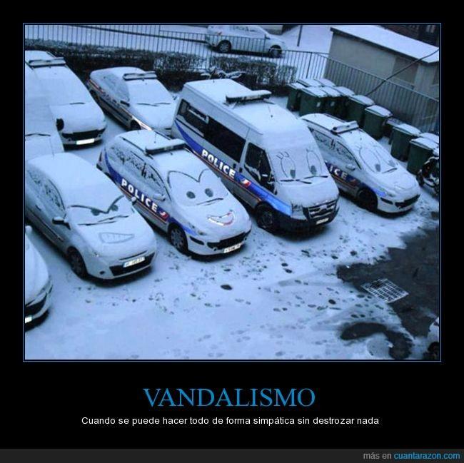 coches,dibujos,nieve,policía