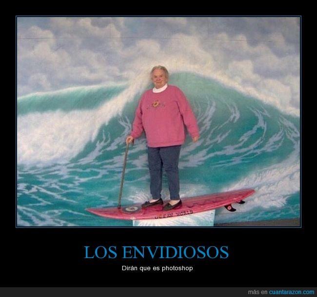 abuela,mar,olas,photoshop,surf