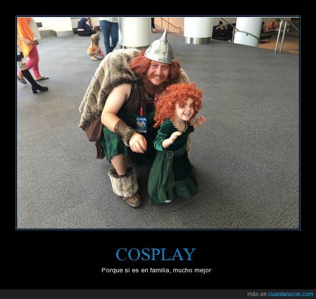 brave,cosplay,hija,niña,padre