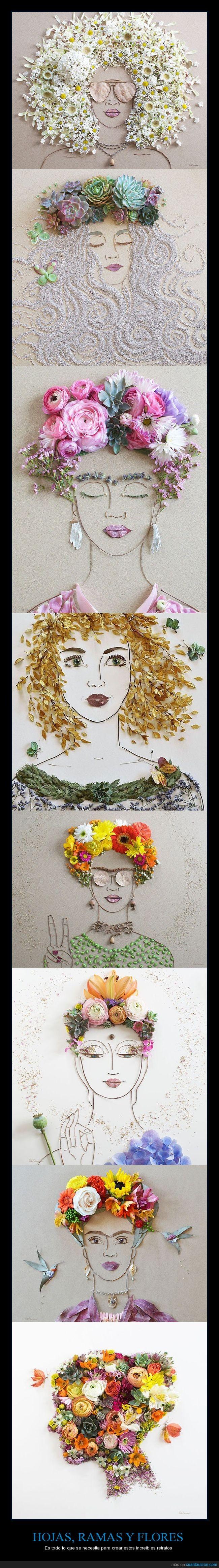 flores,hojas,ramas,retratos