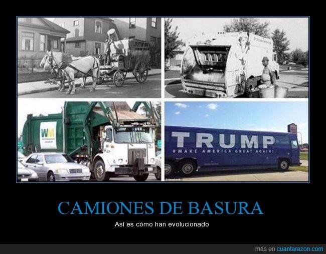 apestosa campaña,basura,camiones,Donald Trump,evolución