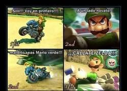 Enlace a Mario verde y Zelda