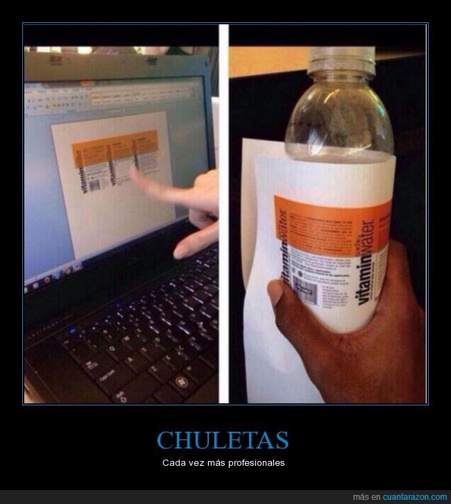 bebida,chuleta,copiar,examen,vitamin water