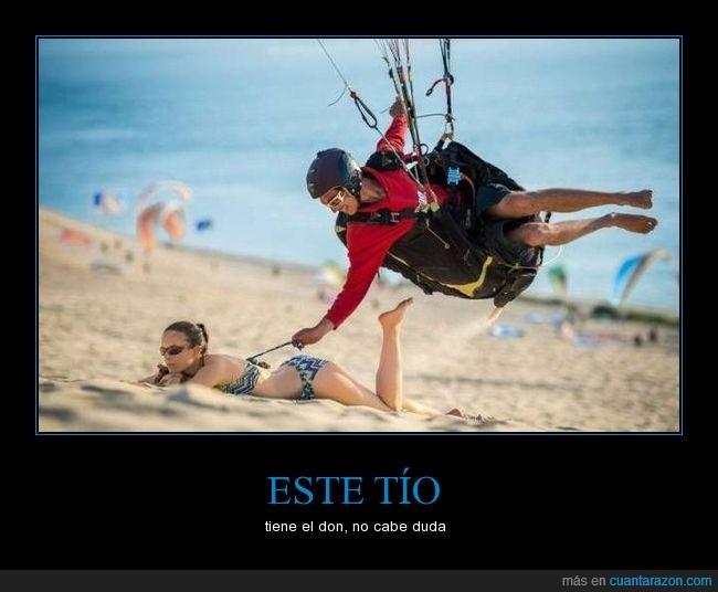 chica,paracaidista,playa