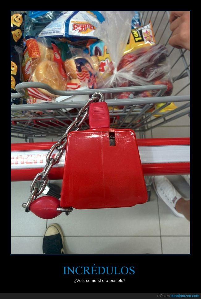 candado,carrito,compra,supermercado