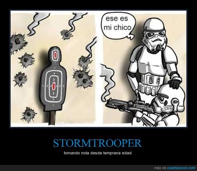 blaster,fallar,hijo,padre,punteria,stormtrooper,tiro