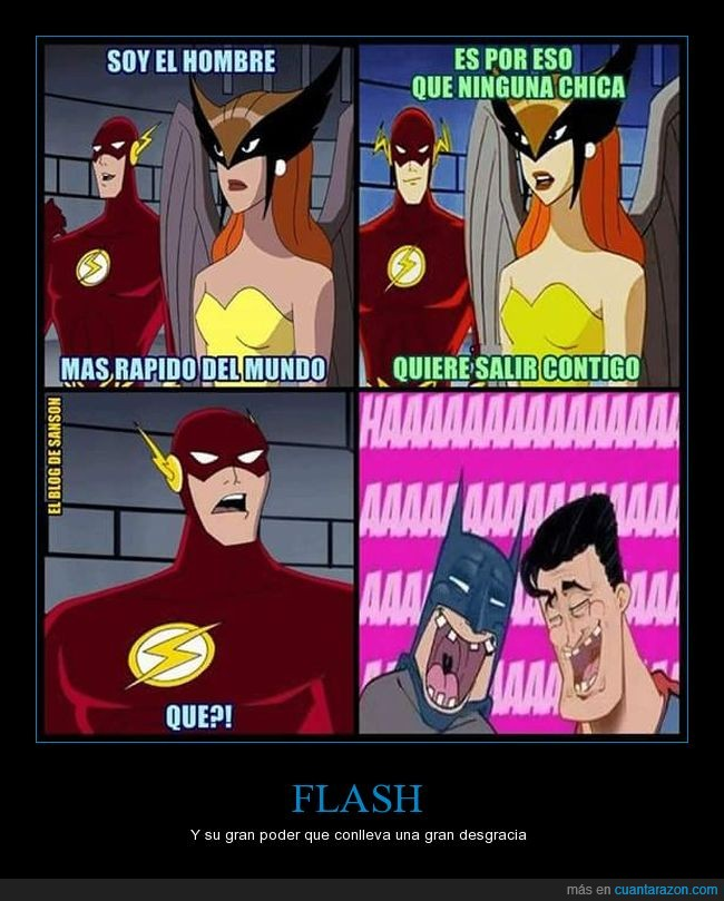 Batman,broma,cómic,DC comics,Flash,Hawkgirl,problema,Superman