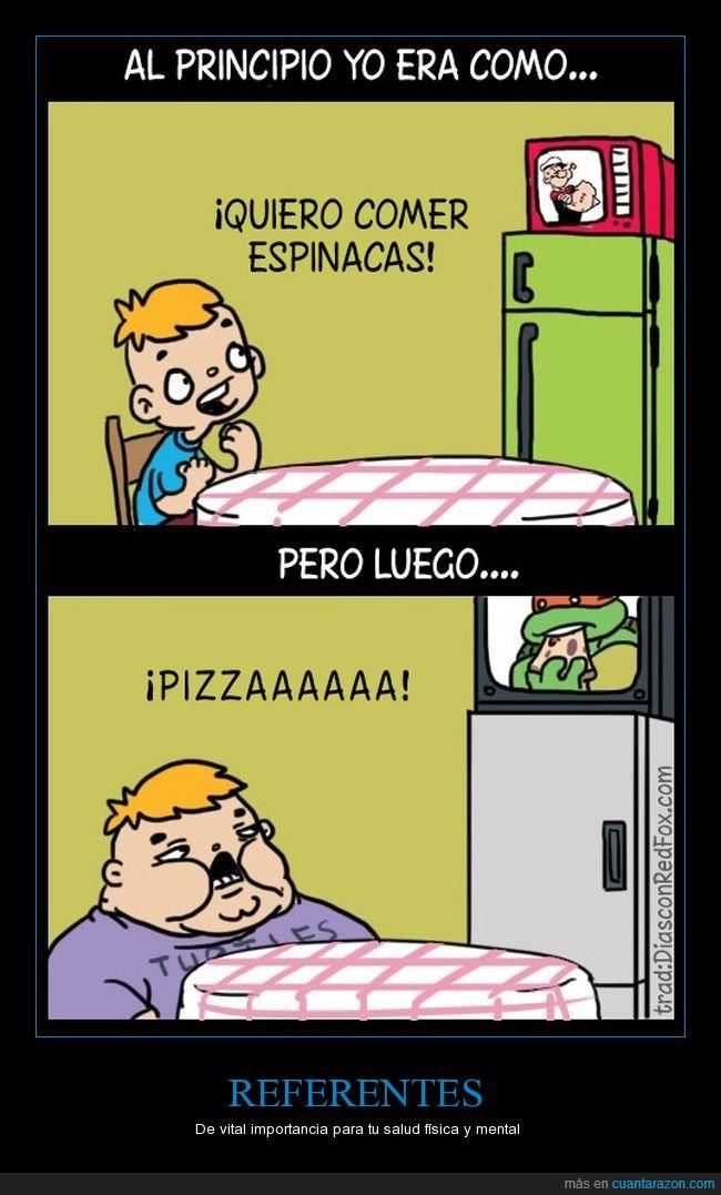 espinacas,ídolos,pizza,popeye,tortugas ninja