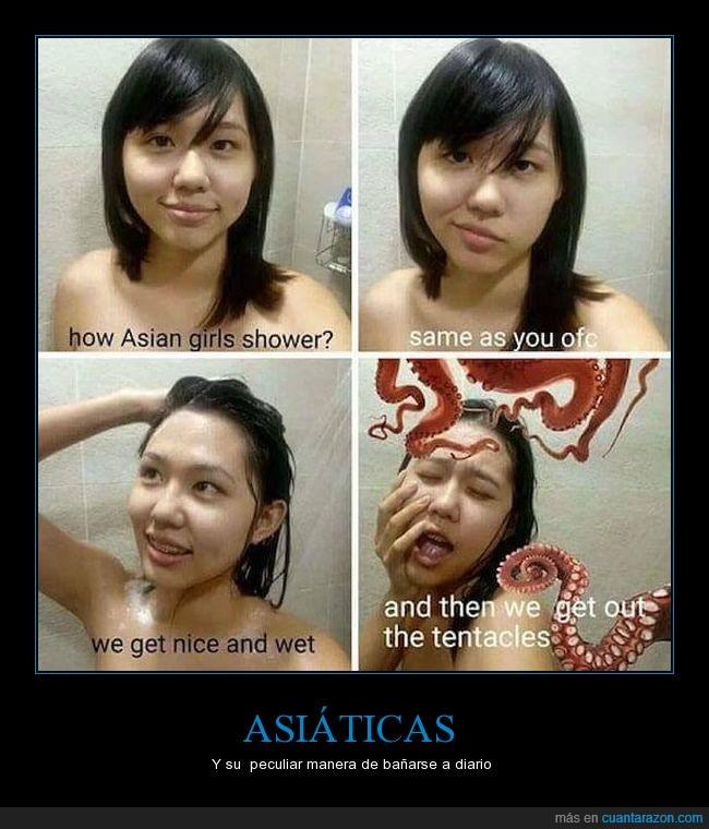 asiáticas,ducharse,pulpos