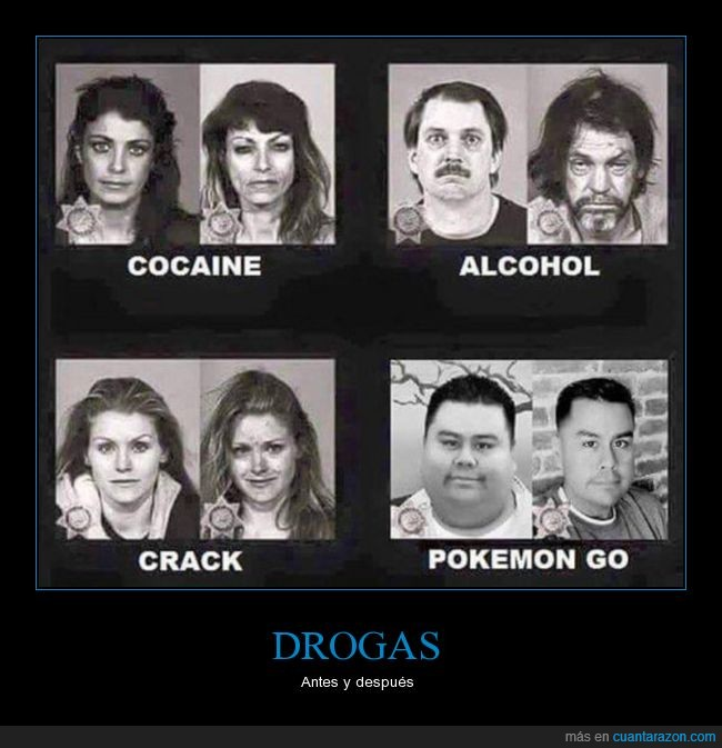 antes,después,drogas,efectos,pokémon go