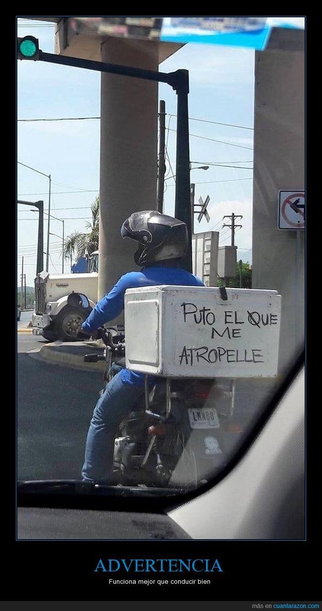 advertencia,conductor,letrero,moto,motociclista