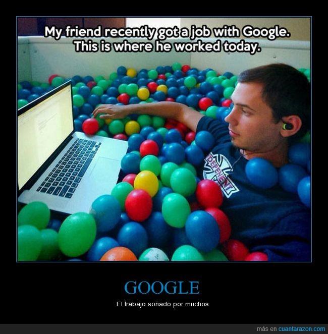 google,no es tan cómodo,piscina de bolas,portátil,trabajo