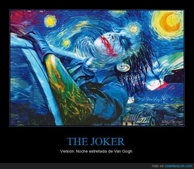 joker,noche estrellada,pintura,van gogh