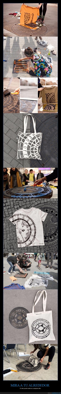 alcantarillas,alrededor,arte,camisetas,estampar,tapas